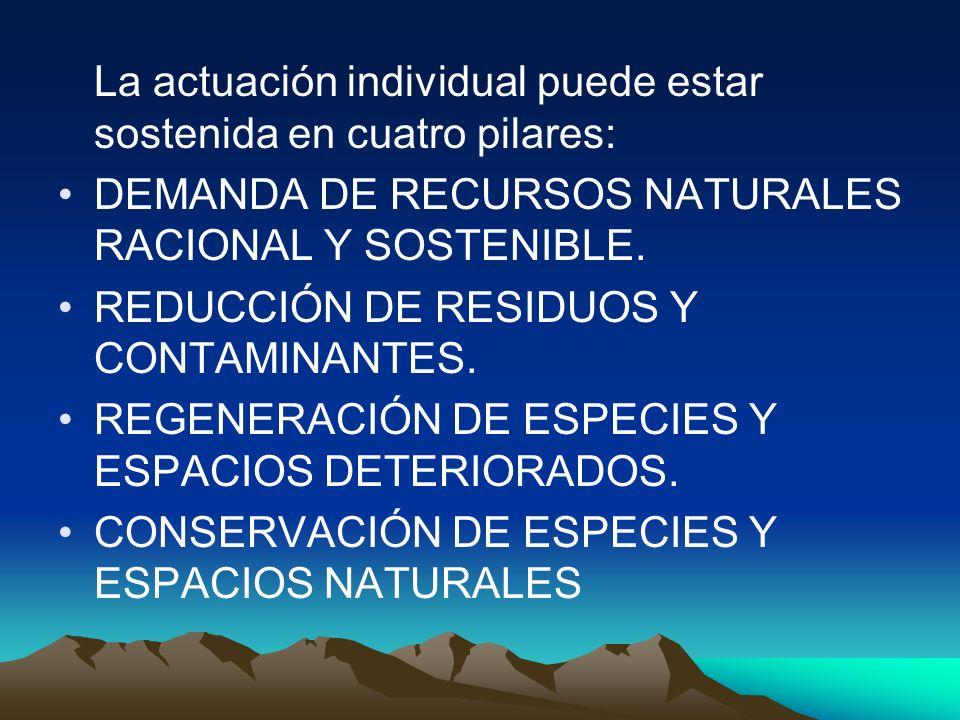 La actuación individual puede estar sostenida en cuatro pilares: DEMANDA DE RECURSOS NATURALES RACIONAL Y SOSTENIBLE. REDUCCIÓN DE RESIDUOS Y CONTAMIN