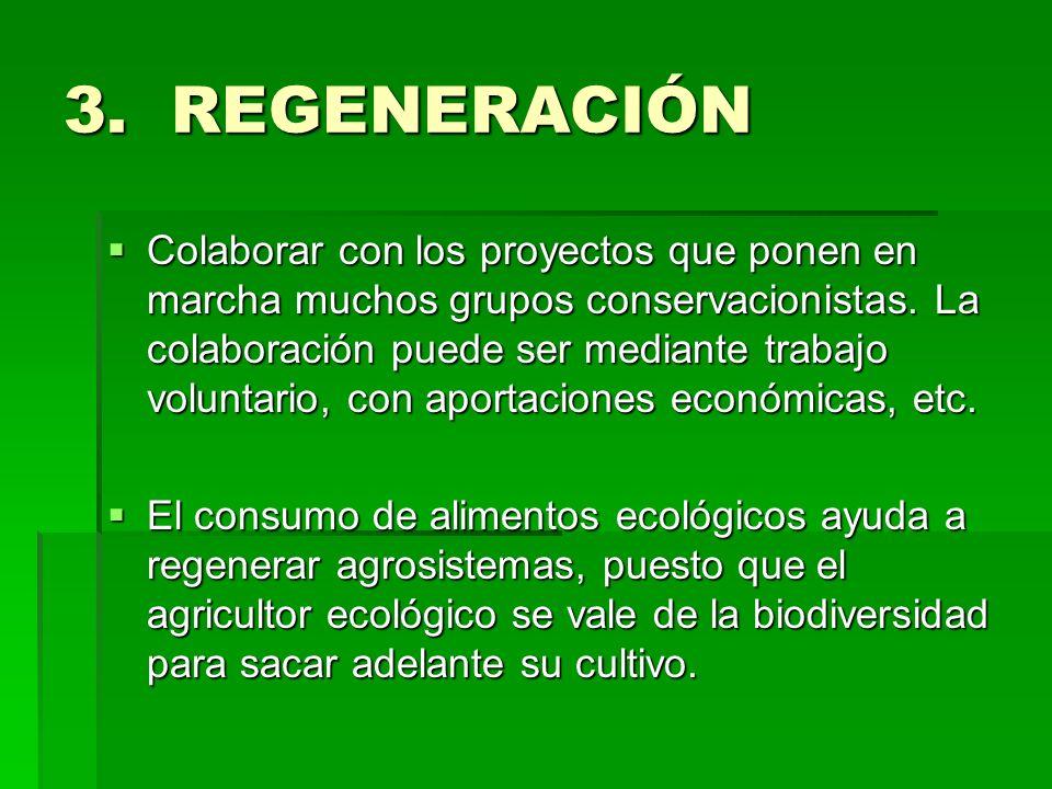 3. REGENERACIÓN Colaborar con los proyectos que ponen en marcha muchos grupos conservacionistas. La colaboración puede ser mediante trabajo voluntario