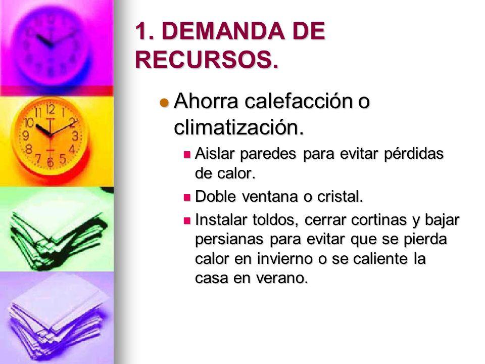 1.DEMANDA DE RECURSOS. Ahorra calefacción o climatización.
