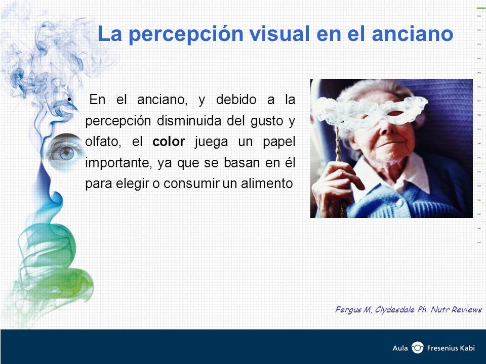 En el anciano, y debido a la percepción disminuida del gusto y olfato, el color juega un papel importante, ya que se basan en él para elegir o consumir un alimento La percepción visual en el anciano Fergus M, Clydesdale Ph.