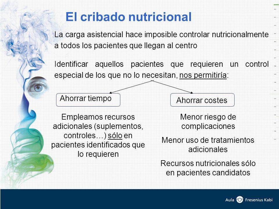 La carga asistencial hace imposible controlar nutricionalmente a todos los pacientes que llegan al centro Ahorrar tiempo Identificar aquellos paciente