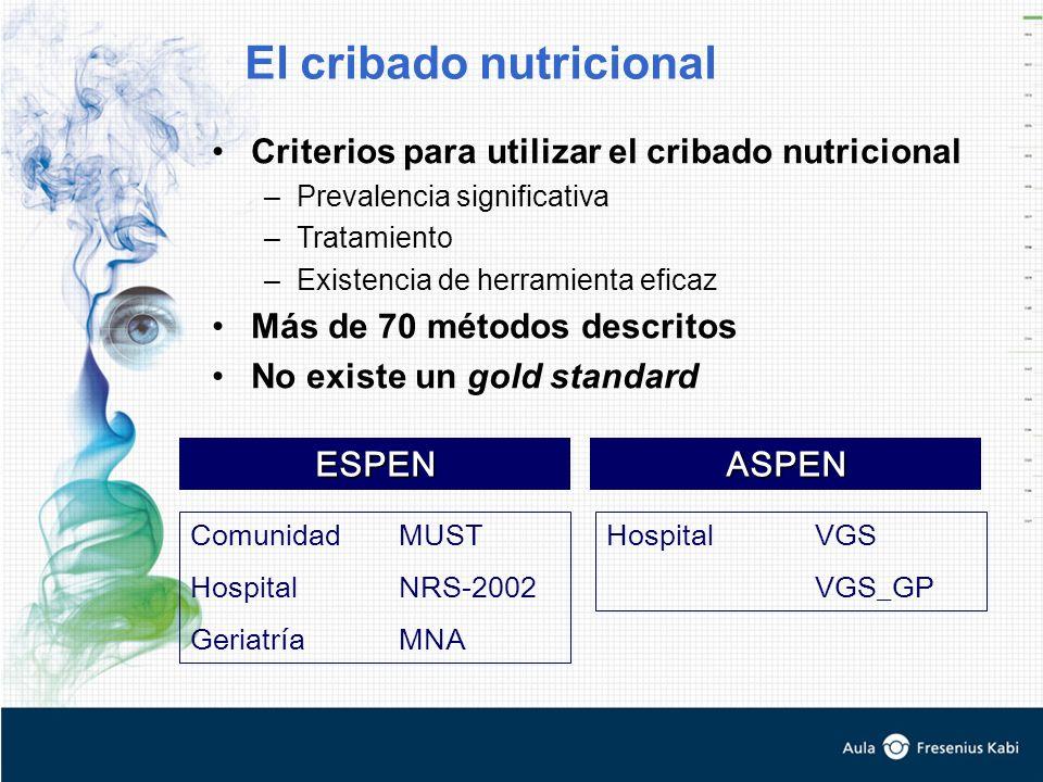 Criterios para utilizar el cribado nutricional –Prevalencia significativa –Tratamiento –Existencia de herramienta eficaz Más de 70 métodos descritos N