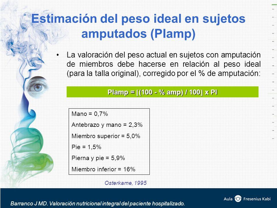 Estimación del peso ideal en sujetos amputados (PIamp) La valoración del peso actual en sujetos con amputación de miembros debe hacerse en relación al peso ideal (para la talla original), corregido por el % de amputación: PIamp = (100 - % amp) / 100 x PI Mano = 0,7% Antebrazo y mano = 2,3% Miembro superior = 5,0% Pie = 1,5% Pierna y pie = 5,9% Miembro inferior = 16% Osterkame, 1995 Barranco J MD.