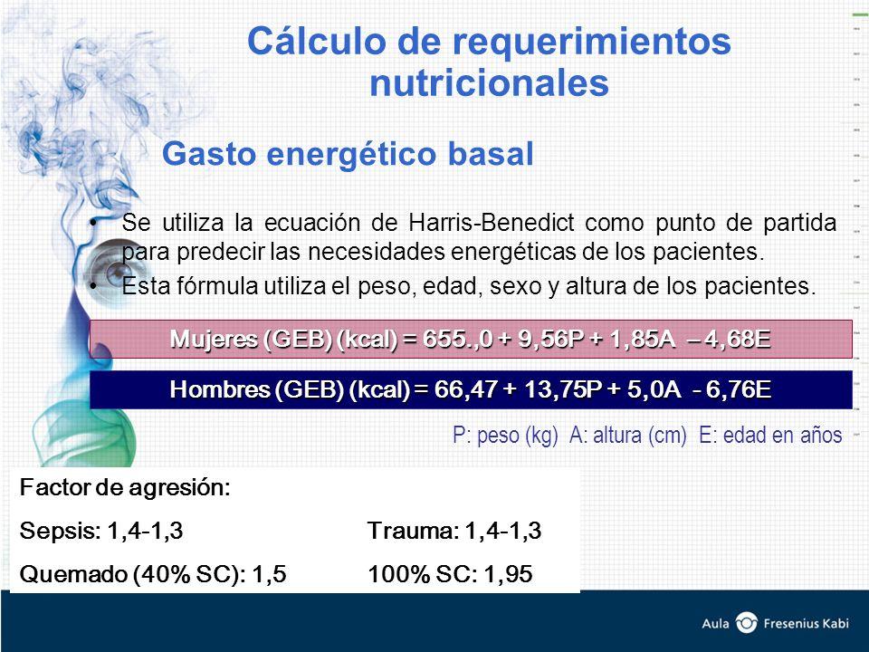 Se utiliza la ecuación de Harris-Benedict como punto de partida para predecir las necesidades energéticas de los pacientes. Esta fórmula utiliza el pe