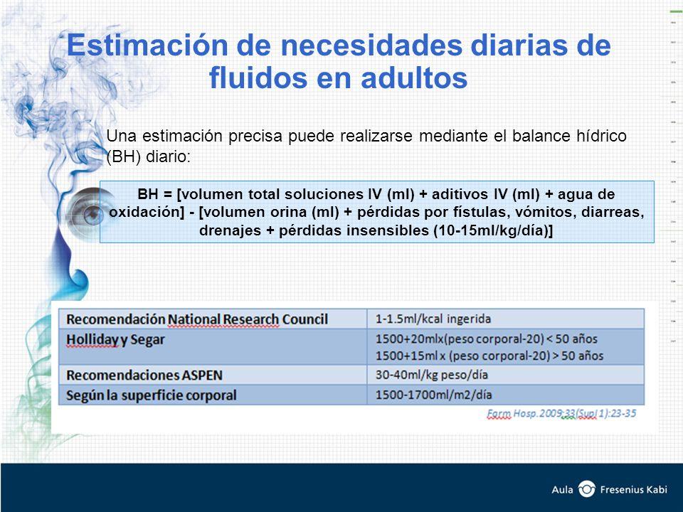 Estimación de necesidades diarias de fluidos en adultos BH = [volumen total soluciones IV (ml) + aditivos IV (ml) + agua de oxidación] - [volumen orina (ml) + pérdidas por fístulas, vómitos, diarreas, drenajes + pérdidas insensibles (10-15ml/kg/día)] Una estimación precisa puede realizarse mediante el balance hídrico (BH) diario: