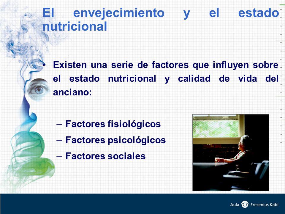 Existen una serie de factores que influyen sobre el estado nutricional y calidad de vida del anciano: –Factores fisiológicos –Factores psicológicos –Factores sociales El envejecimiento y el estado nutricional