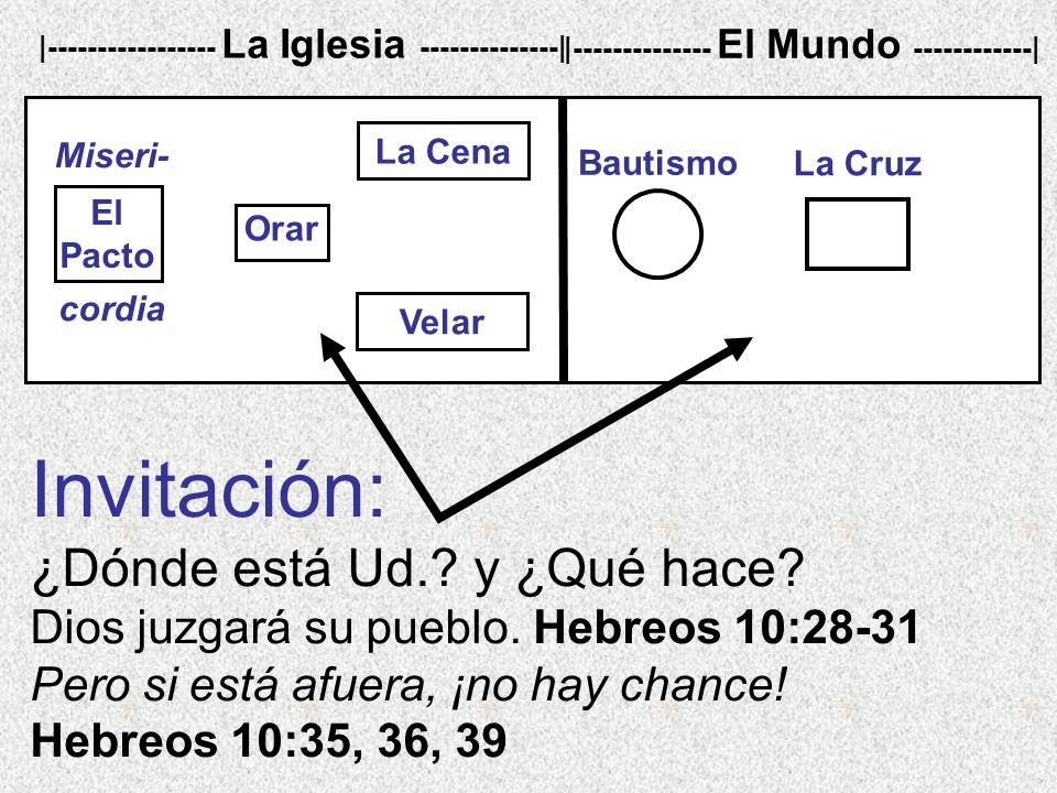 Invitación: ¿Dónde está Ud.? y ¿Qué hace? Dios juzgará su pueblo. Hebreos 10:28-31 Pero si está afuera, ¡no hay chance! Hebreos 10:35, 36, 39 |-------