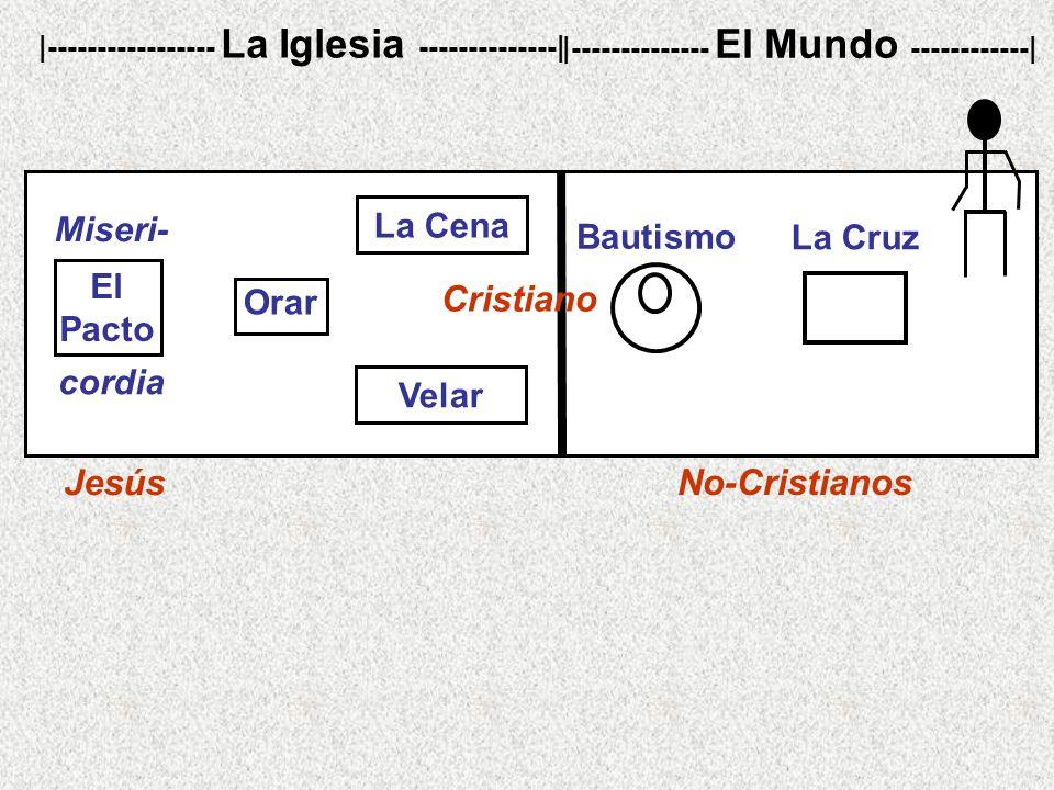 No-Cristianos |----------------- La Iglesia --------------| |-------------- El Mundo ------------| La Cruz Bautismo Jesús cordia Miseri- El Pacto Cristiano Orar Velar La Cena