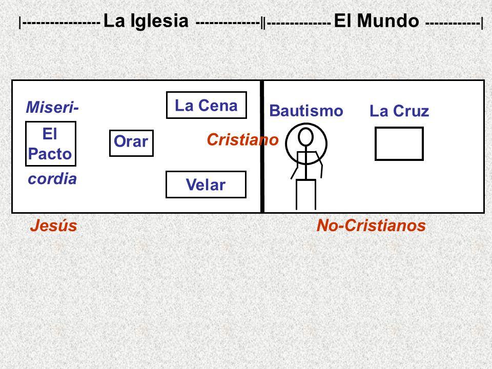 No-Cristianos |----------------- La Iglesia --------------| |-------------- El Mundo ------------| La Cruz Bautismo Jesús cordia Miseri- El Pacto Cris