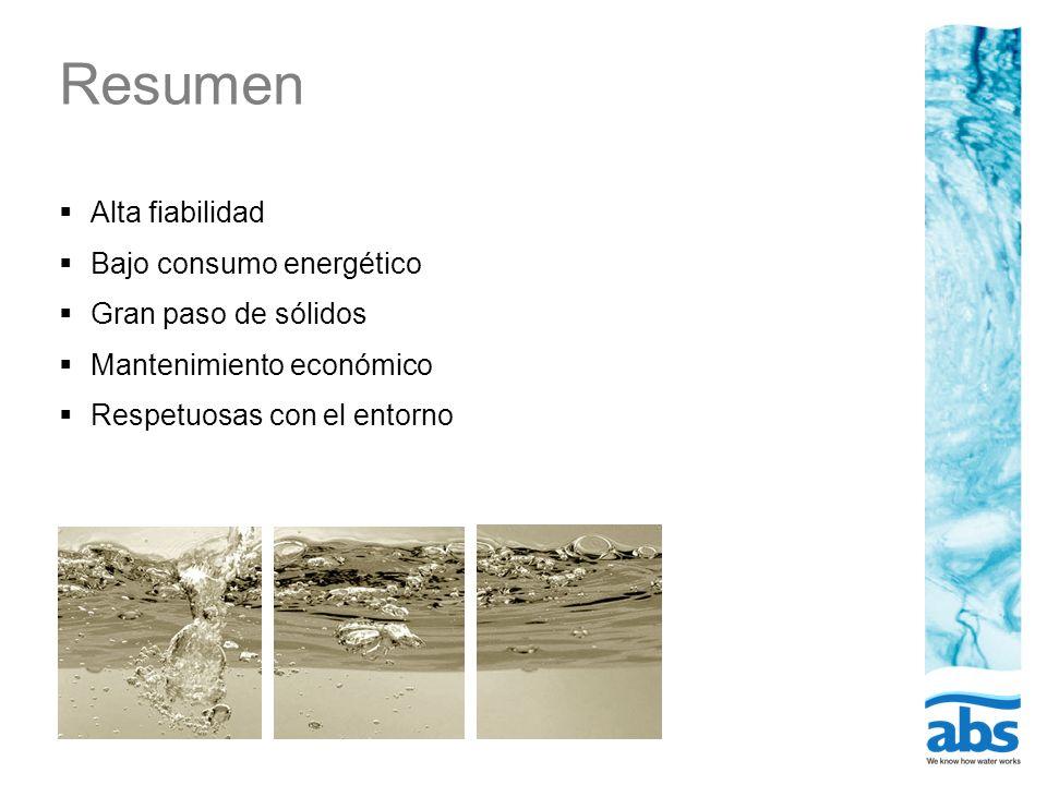 Resumen Alta fiabilidad Bajo consumo energético Gran paso de sólidos Mantenimiento económico Respetuosas con el entorno