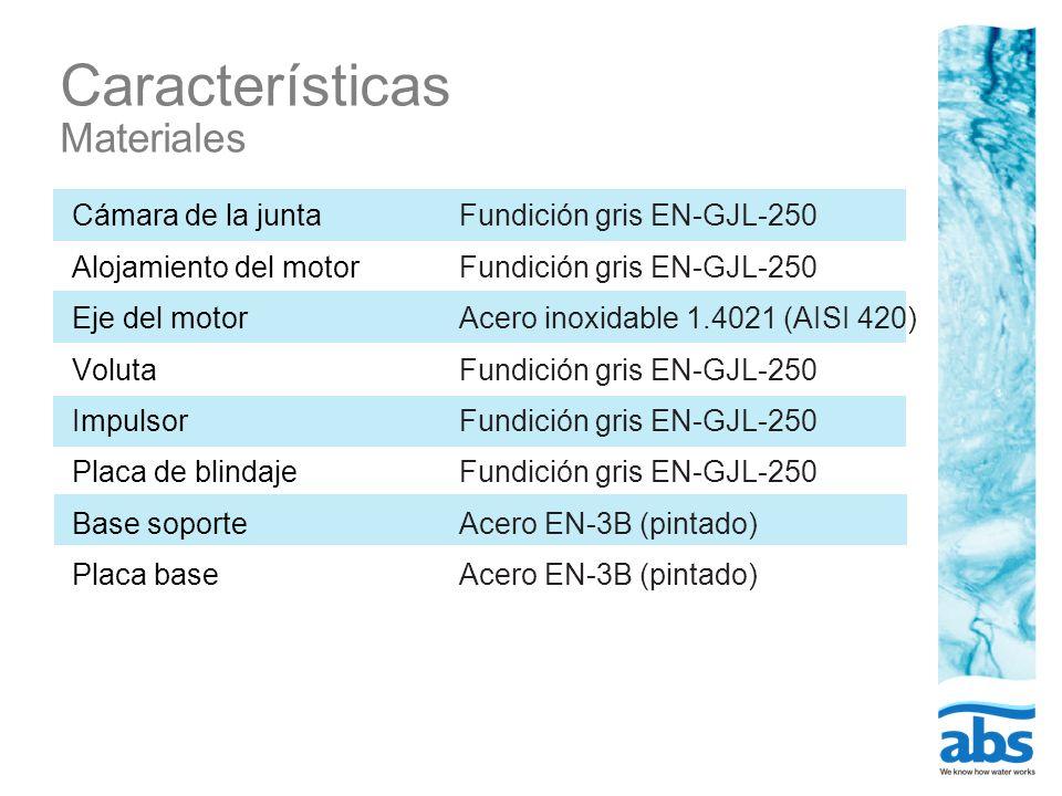 Características Materiales Cámara de la junta Alojamiento del motor Eje del motor Voluta Impulsor Placa de blindaje Base soporte Placa base Fundición