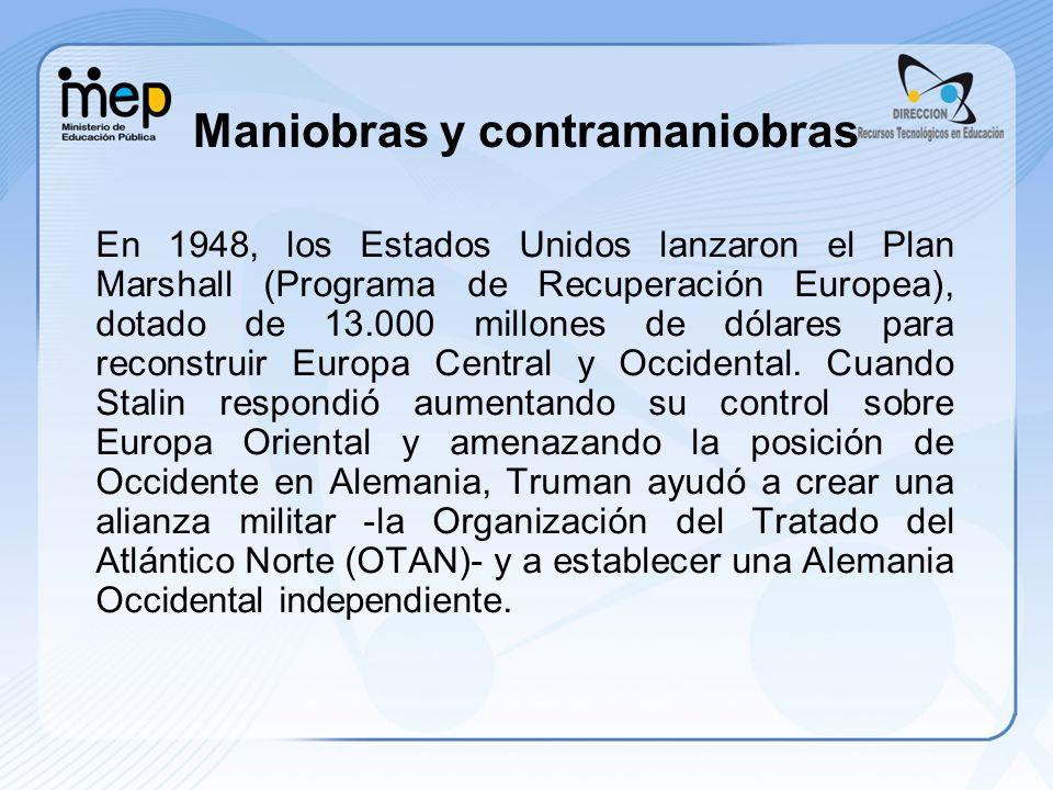 En 1948, los Estados Unidos lanzaron el Plan Marshall (Programa de Recuperación Europea), dotado de 13.000 millones de dólares para reconstruir Europa Central y Occidental.