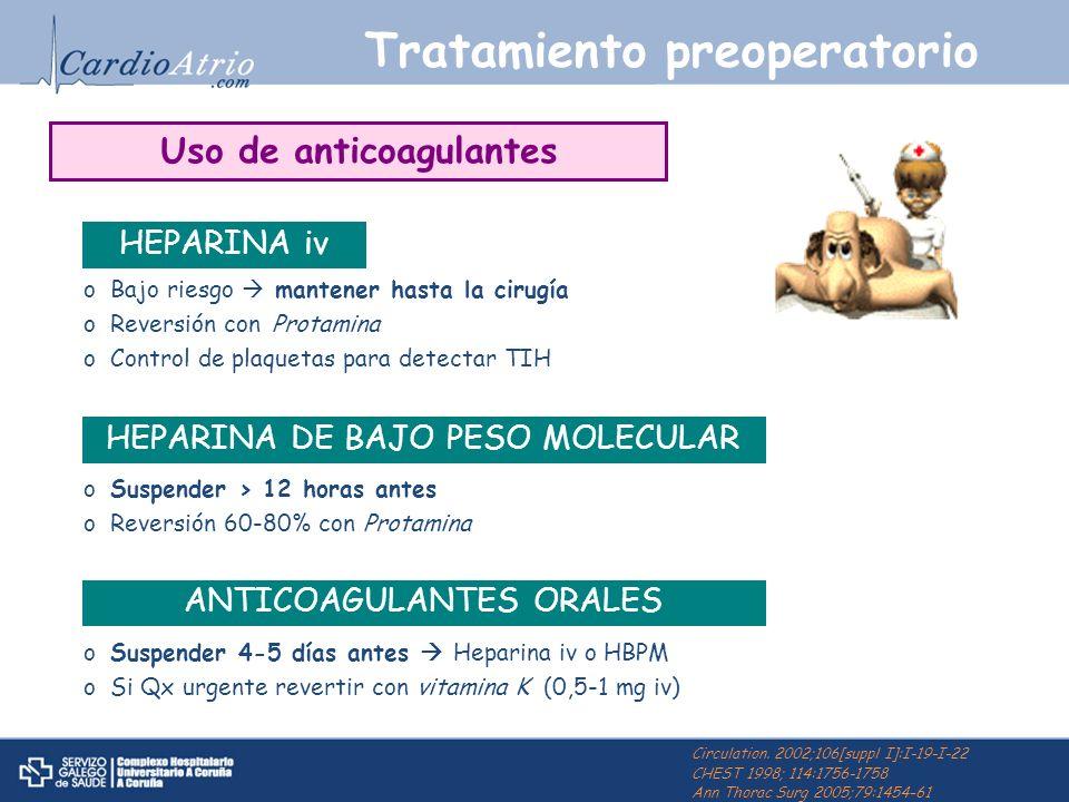 Tratamiento preoperatorio oBajo riesgo mantener hasta la cirugía oReversión con Protamina oControl de plaquetas para detectar TIH HEPARINA iv Circulat