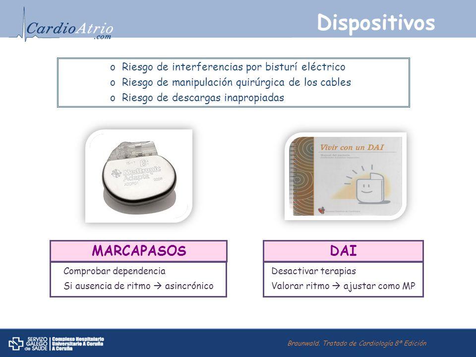 Dispositivos MARCAPASOS Comprobar dependencia Si ausencia de ritmo asincrónico DAI Desactivar terapias Valorar ritmo ajustar como MP oRiesgo de interf