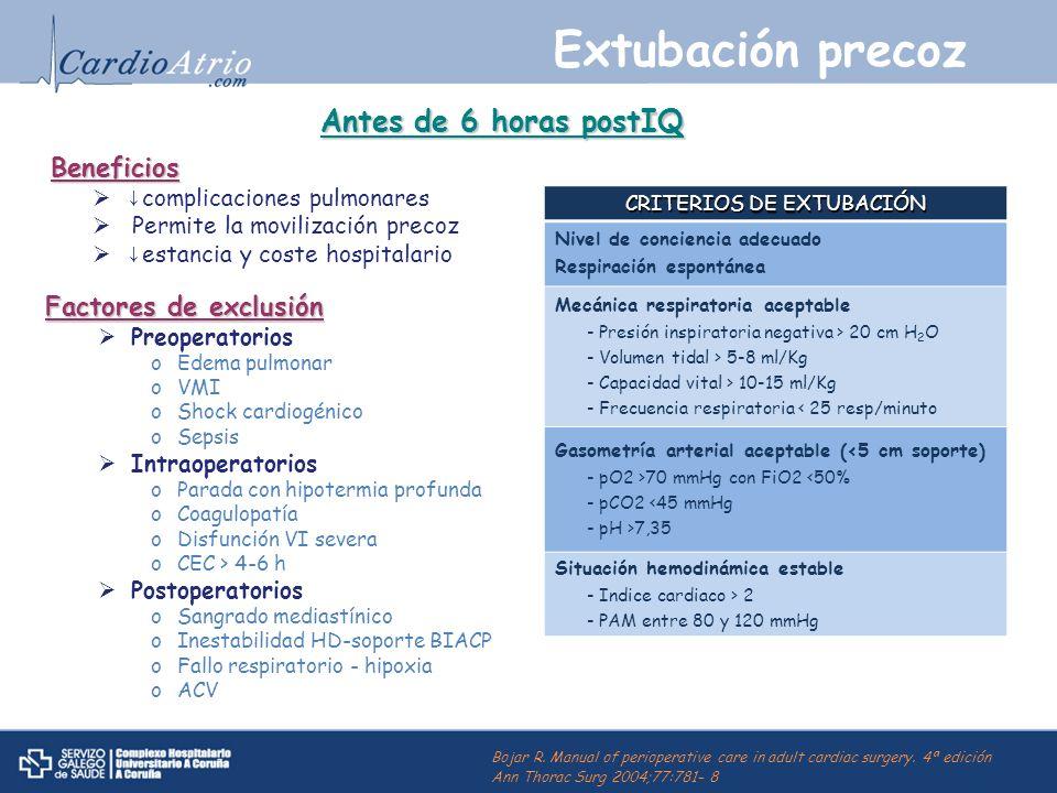 Extubación precoz Beneficios complicaciones pulmonares Permite la movilización precoz estancia y coste hospitalario CRITERIOS DE EXTUBACIÓN Nivel de c