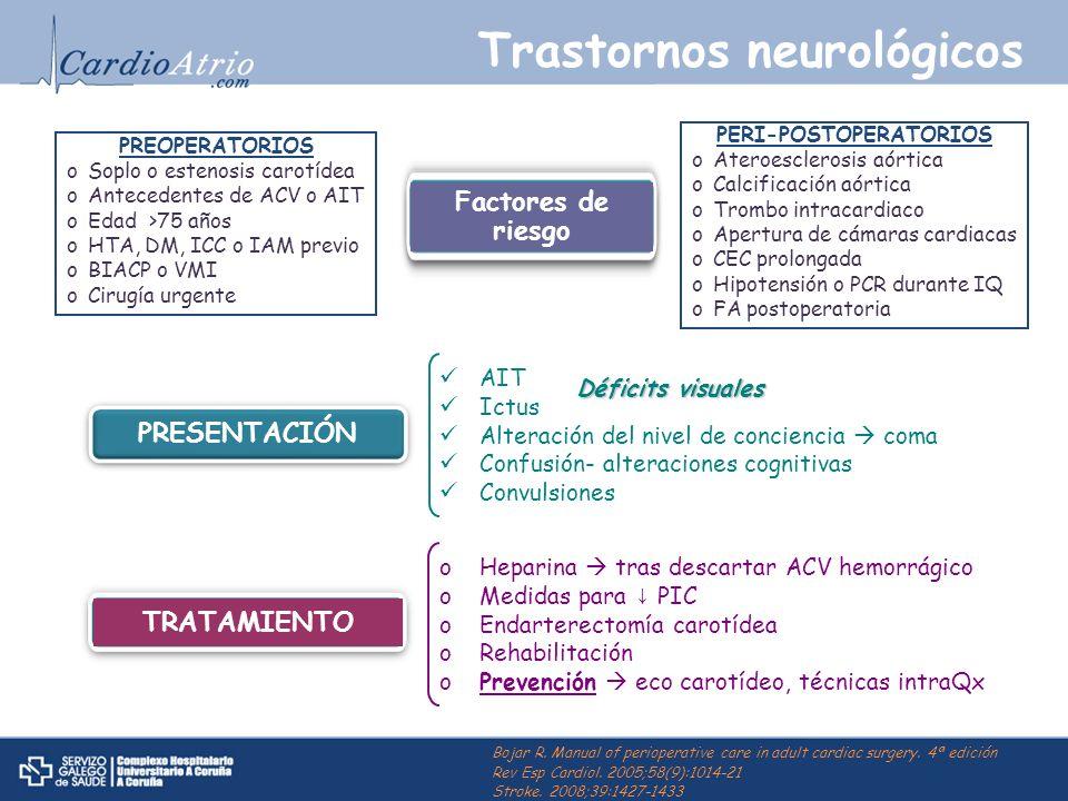 Trastornos neurológicos PREOPERATORIOS oSoplo o estenosis carotídea oAntecedentes de ACV o AIT oEdad >75 años oHTA, DM, ICC o IAM previo oBIACP o VMI