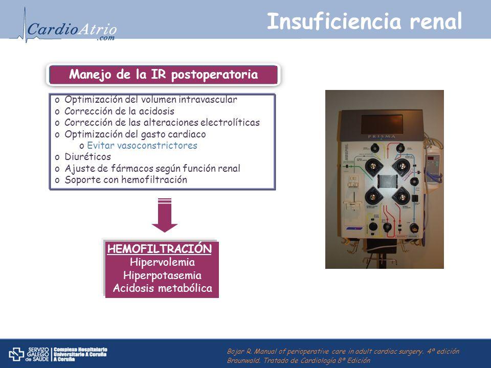 Insuficiencia renal oOptimización del volumen intravascular oCorrección de la acidosis oCorrección de las alteraciones electrolíticas oOptimización de
