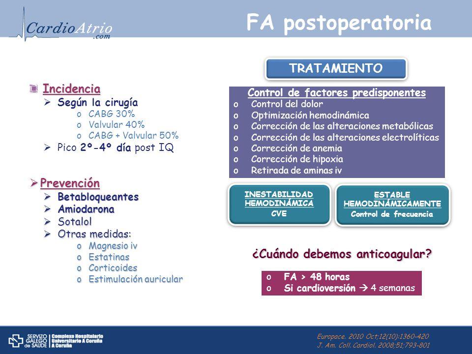 FA postoperatoria Incidencia Incidencia Según la cirugía oCABG 30% oValvular 40% oCABG + Valvular 50% Pico 2º-4º día post IQ Prevención Prevención Bet