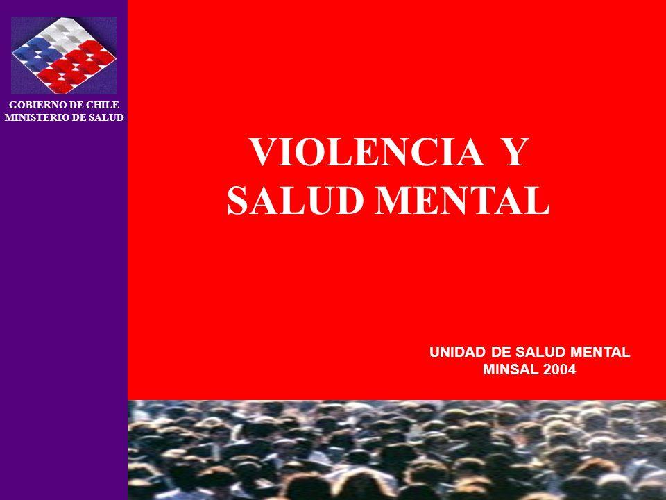 UNIDAD DE SALUD MENTAL MINSAL 2004 GOBIERNO DE CHILE MINISTERIO DE SALUD VIOLENCIA Y SALUD MENTAL