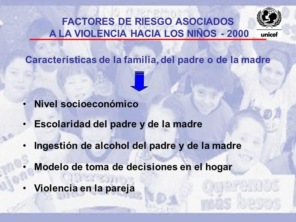 FACTORES DE RIESGO ASOCIADOS A LA VIOLENCIA HACIA LOS NIÑOS - 2000 Características de la familia, del padre o de la madre Nivel socioeconómico Escolar