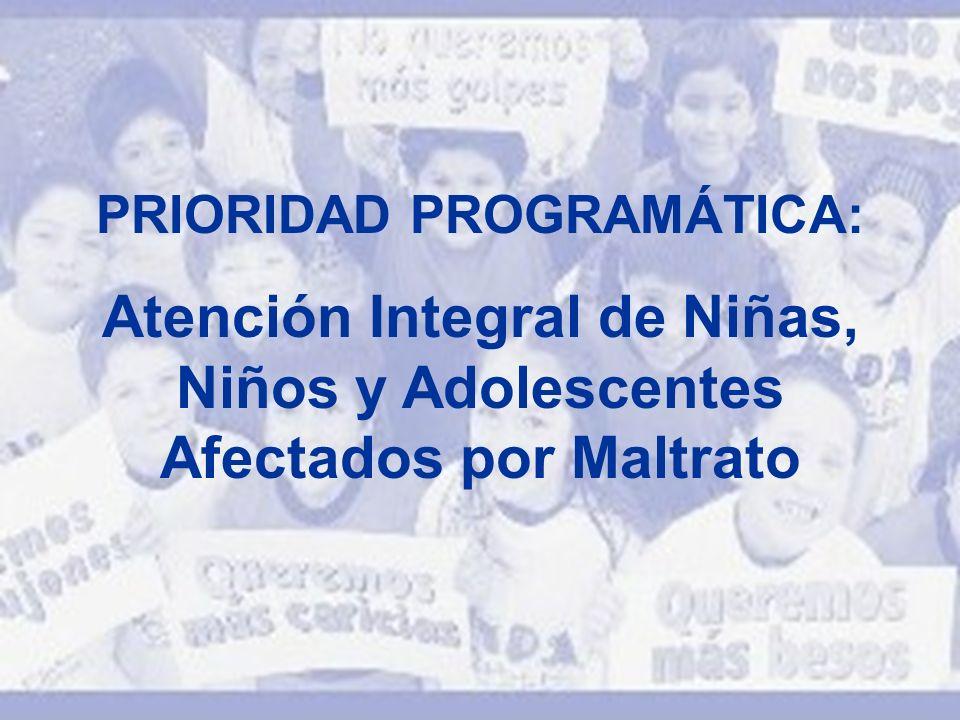 PRIORIDAD PROGRAMÁTICA: Atención Integral de Niñas, Niños y Adolescentes Afectados por Maltrato