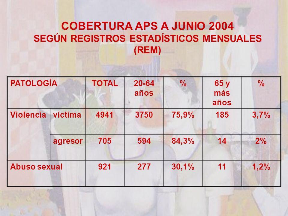 COBERTURA APS A JUNIO 2004 SEGÚN REGISTROS ESTADÍSTICOS MENSUALES (REM) PATOLOGÍATOTAL20-64 años %65 y más años % Violenciavíctima4941375075,9%1853,7% agresor70559484,3%142% Abuso sexual92127730,1%111,2%