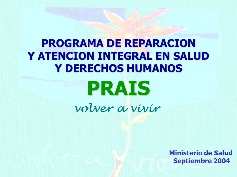 PROGRAMA DE REPARACION Y ATENCION INTEGRAL EN SALUD Y DERECHOS HUMANOS PRAIS Ministerio de Salud Septiembre 2004