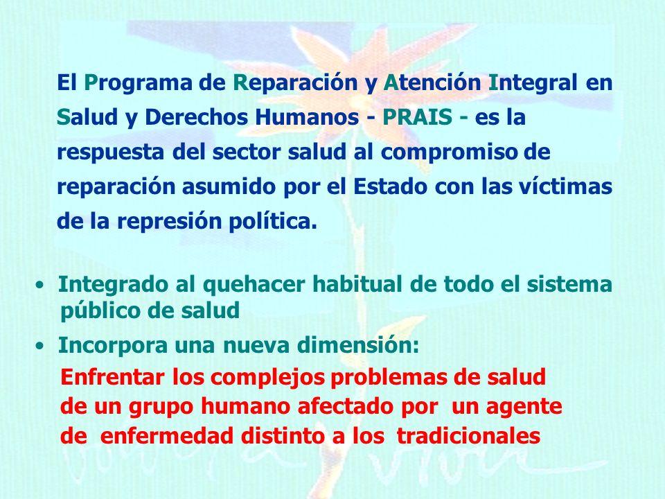 El Programa de Reparación y Atención Integral en Salud y Derechos Humanos - PRAIS - es la respuesta del sector salud al compromiso de reparación asumido por el Estado con las víctimas de la represión política.