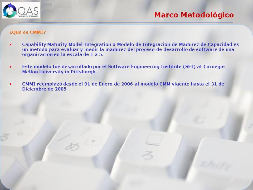 Marco Metodológico ¿Qué es CMMI? Capability Maturity Model Integration o Modelo de Integración de Madurez de Capacidad es un método para evaluar y med