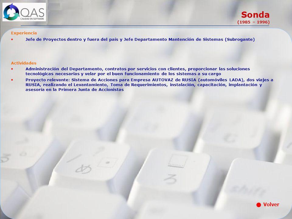 Sonda (1985 – 1996) Experiencia Jefe de Proyectos dentro y fuera del país y Jefe Departamento Mantención de Sistemas (Subrogante) Actividades Administ