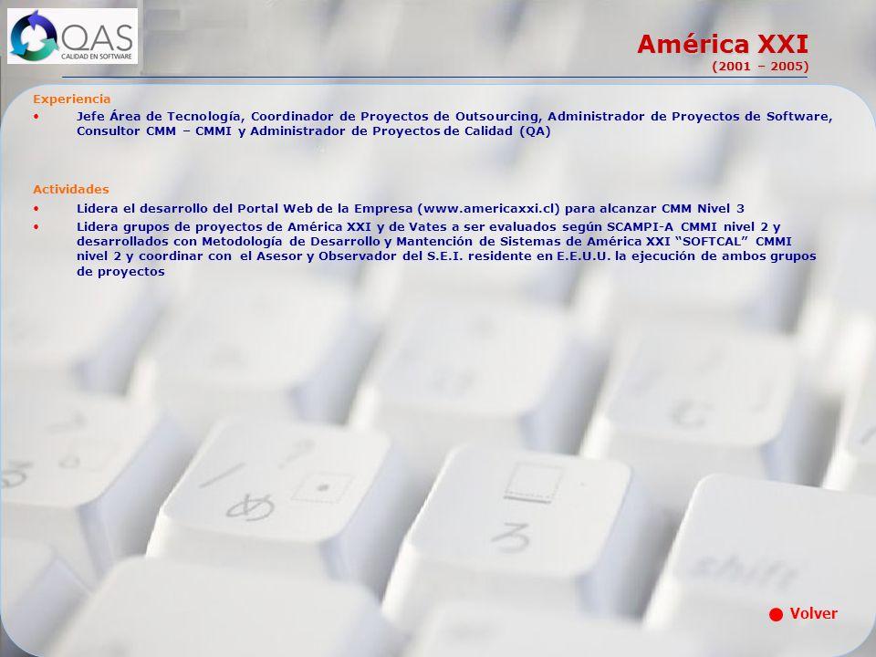América XXI (2001 – 2005) Experiencia Jefe Área de Tecnología, Coordinador de Proyectos de Outsourcing, Administrador de Proyectos de Software, Consul