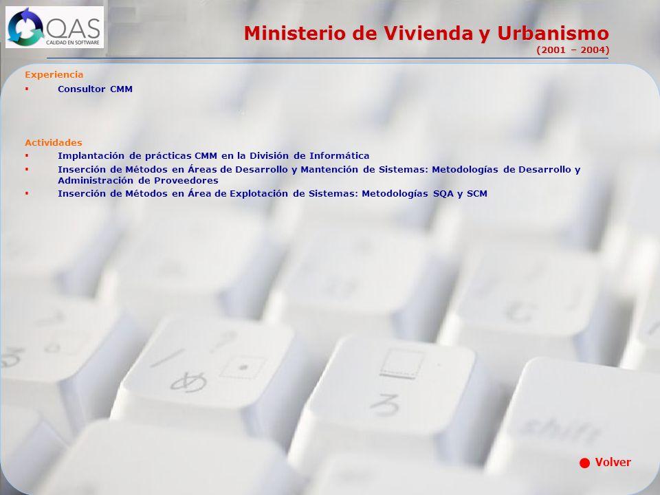 Ministerio de Vivienda y Urbanismo (2001 – 2004) Experiencia Consultor CMM Actividades Implantación de prácticas CMM en la División de Informática Ins