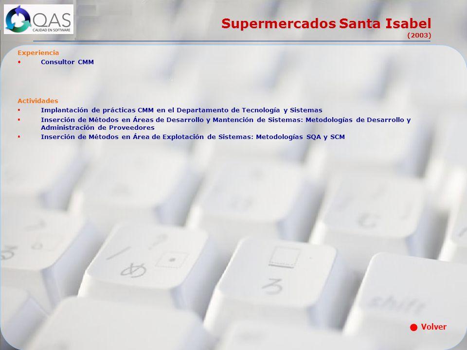 Supermercados Santa Isabel (2003) Experiencia Consultor CMM Actividades Implantación de prácticas CMM en el Departamento de Tecnología y Sistemas Inse