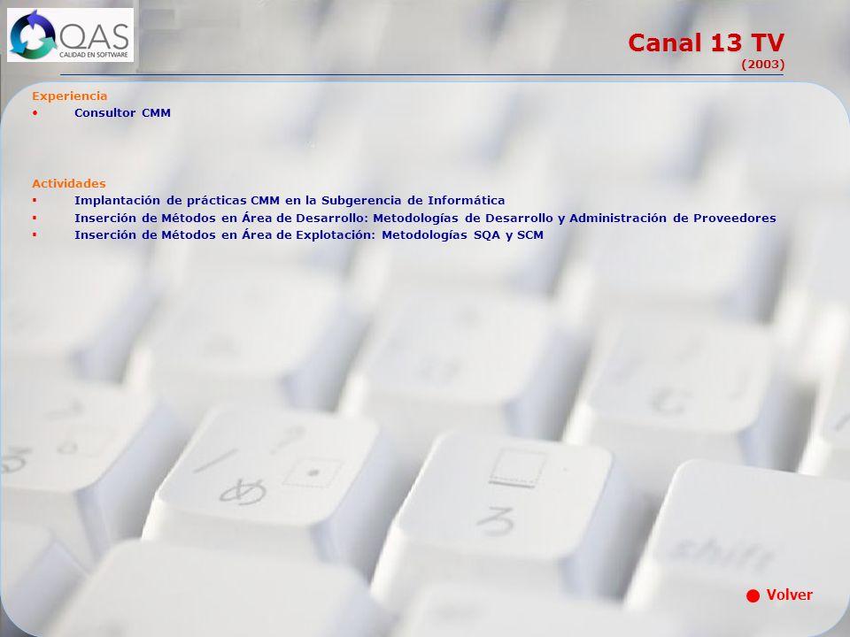 Canal 13 TV (2003) Experiencia Consultor CMM Actividades Implantación de prácticas CMM en la Subgerencia de Informática Inserción de Métodos en Área d