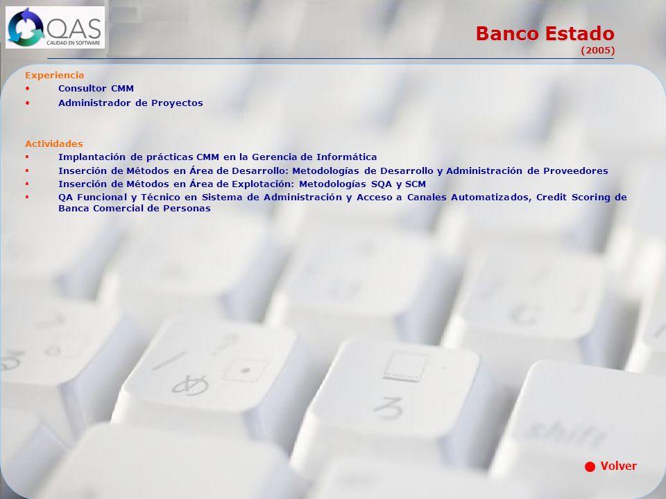 Banco Estado (2005) Experiencia Consultor CMM Administrador de Proyectos Actividades Implantación de prácticas CMM en la Gerencia de Informática Inser