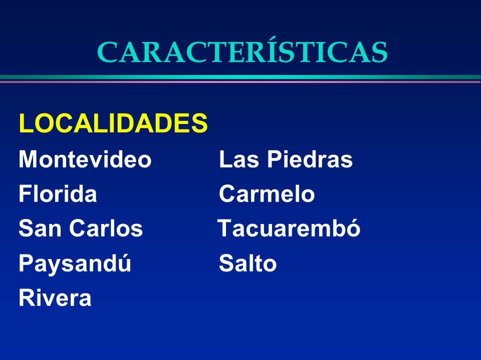 CARACTERÍSTICAS LOCALIDADES Montevideo Las Piedras Florida Carmelo San Carlos Tacuarembó Paysandú Salto Rivera