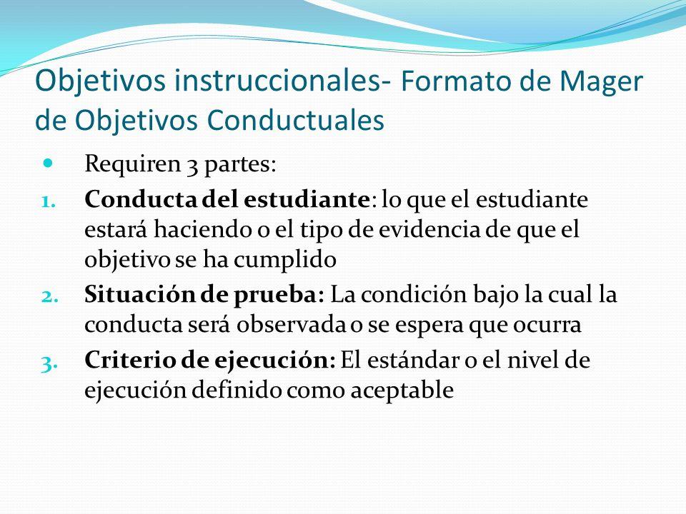 Objetivos instruccionales- Formato de Mager de Objetivos Conductuales Requiren 3 partes: 1.