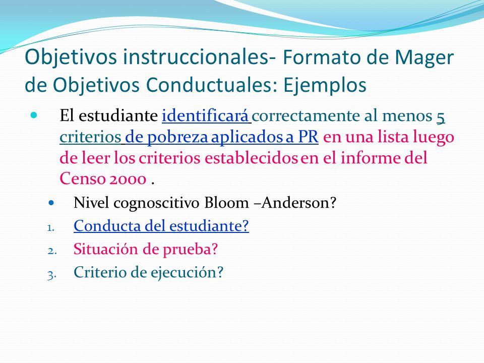 Objetivos instruccionales- Formato de Mager de Objetivos Conductuales: Ejemplos El estudiante identificará correctamente al menos 5 criterios de pobreza aplicados a PR en una lista luego de leer los criterios establecidos en el informe del Censo 2000.