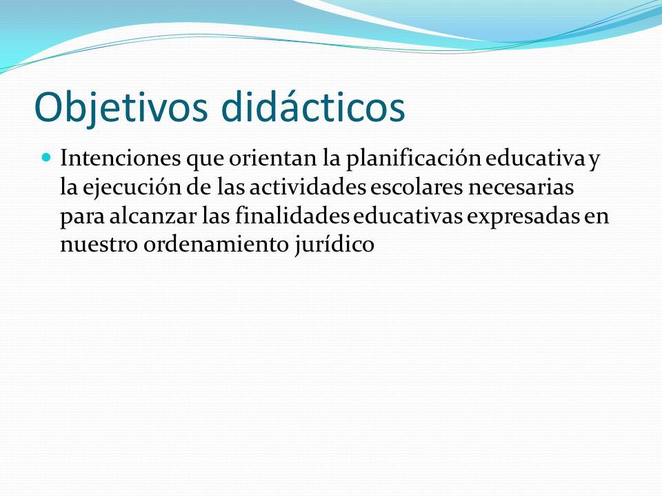 Objetivos didácticos Intenciones que orientan la planificación educativa y la ejecución de las actividades escolares necesarias para alcanzar las finalidades educativas expresadas en nuestro ordenamiento jurídico