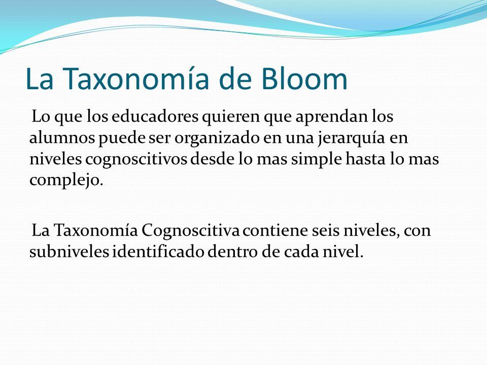 La Taxonomía de Bloom Lo que los educadores quieren que aprendan los alumnos puede ser organizado en una jerarquía en niveles cognoscitivos desde lo mas simple hasta lo mas complejo.