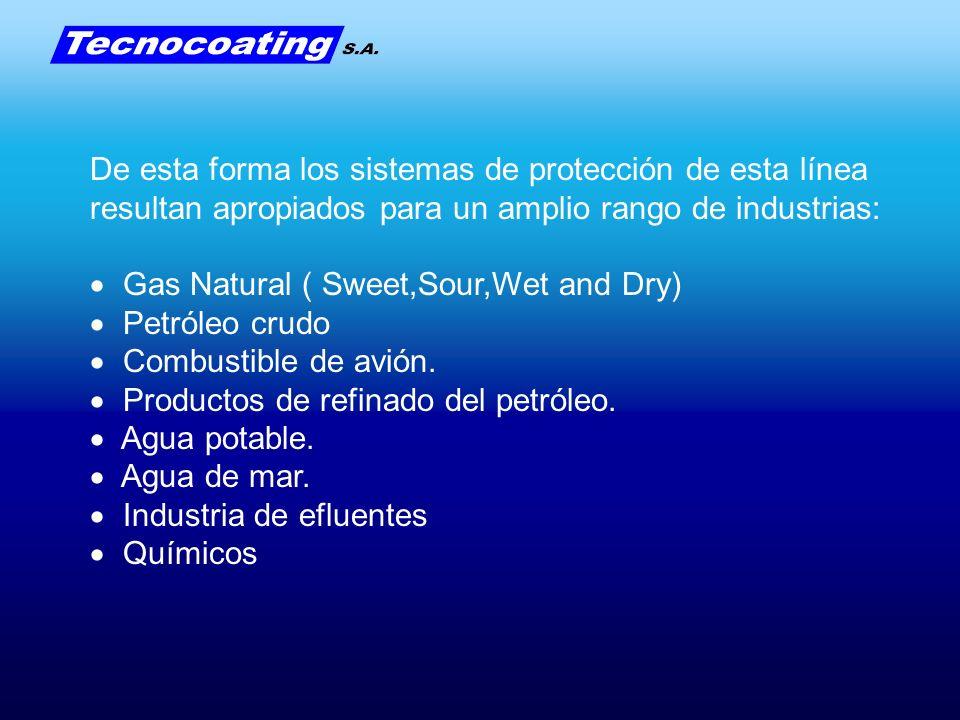 De esta forma los sistemas de protección de esta línea resultan apropiados para un amplio rango de industrias: Gas Natural ( Sweet,Sour,Wet and Dry) P