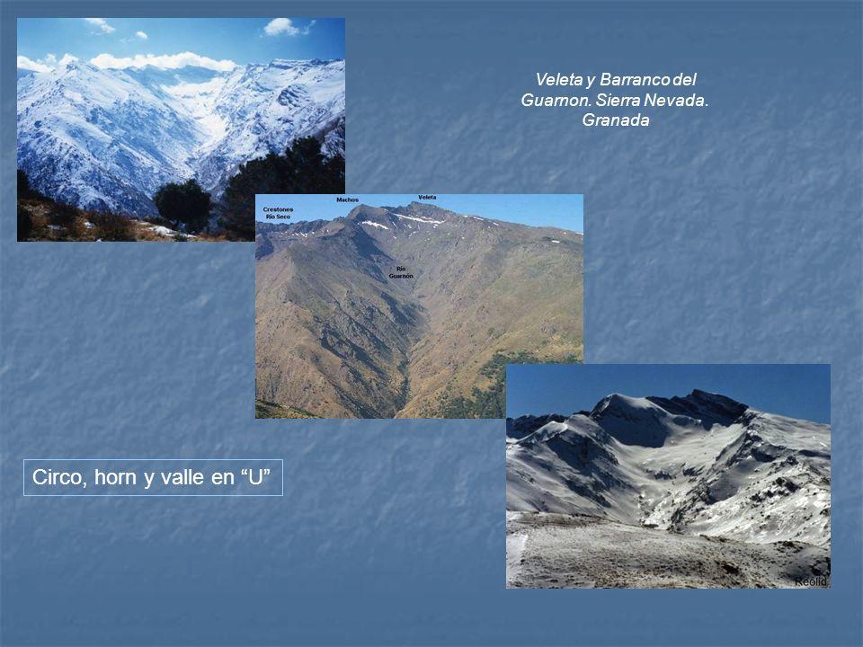 Veleta y Barranco del Guarnon. Sierra Nevada. Granada Circo, horn y valle en U