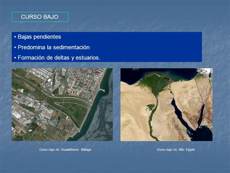 CURSO BAJO Bajas pendientes Predomina la sedimentación Formación de deltas y estuarios. Curso bajo río Guadalhorce. MálagaCurso bajo río Nilo. Egipto