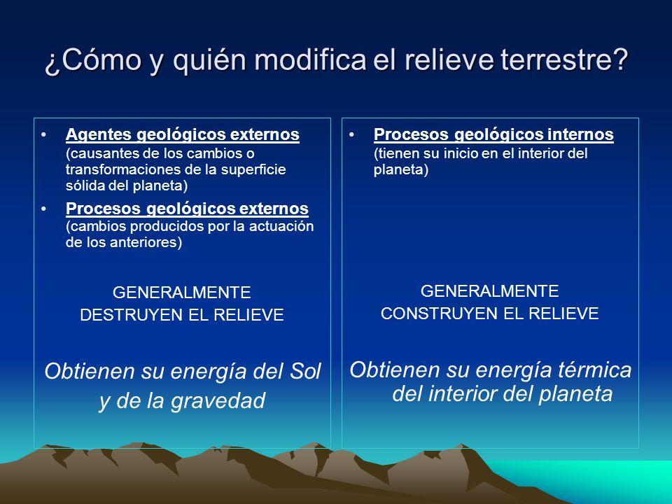 ¿Cómo y quién modifica el relieve terrestre? Agentes geológicos externos (causantes de los cambios o transformaciones de la superficie sólida del plan