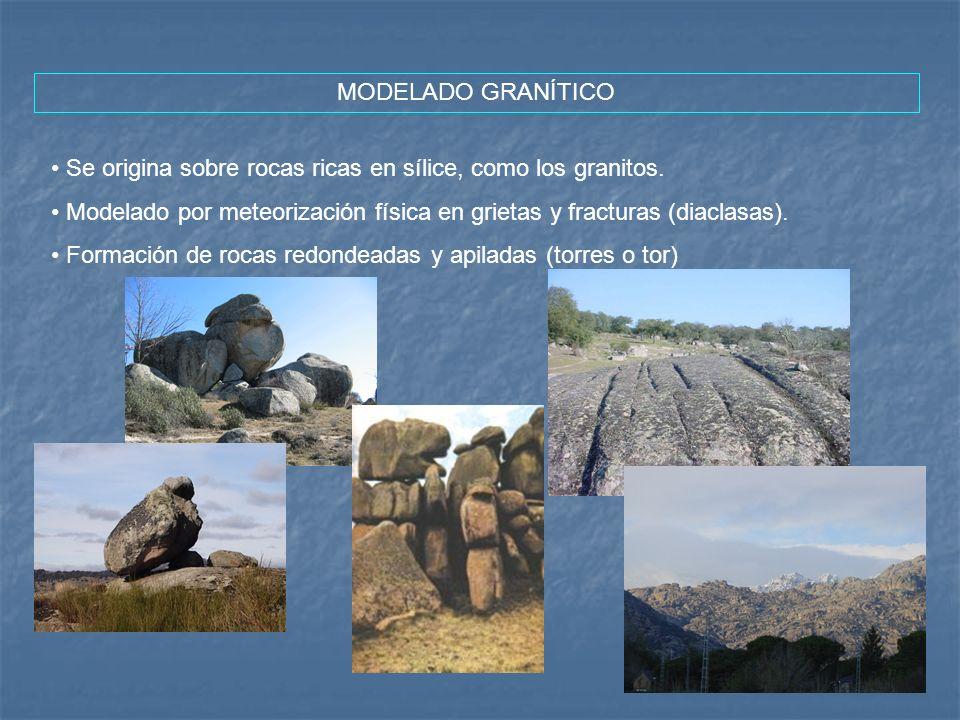 MODELADO GRANÍTICO Se origina sobre rocas ricas en sílice, como los granitos. Modelado por meteorización física en grietas y fracturas (diaclasas). Fo