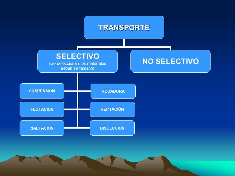 TRANSPORTE SELECTIVO (Se seleccionan los materiales según su tamaño) SUSPENSIÓNRODADURA FLOTACIÓNREPTACIÓN SALTACIÓNDISOLUCIÓN NO SELECTIVO