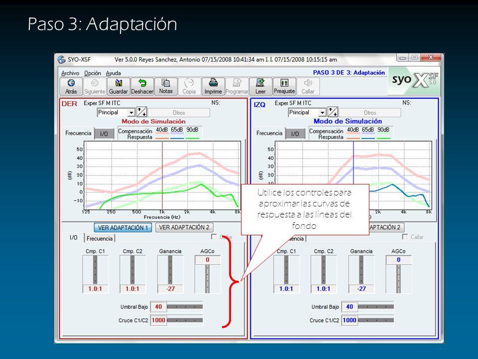 Paso 3: Adaptación Las líneas claras del fondo indican la compensación sugerida para sonidos suaves, medios y fuertes (rosa, azul y verde respectivame
