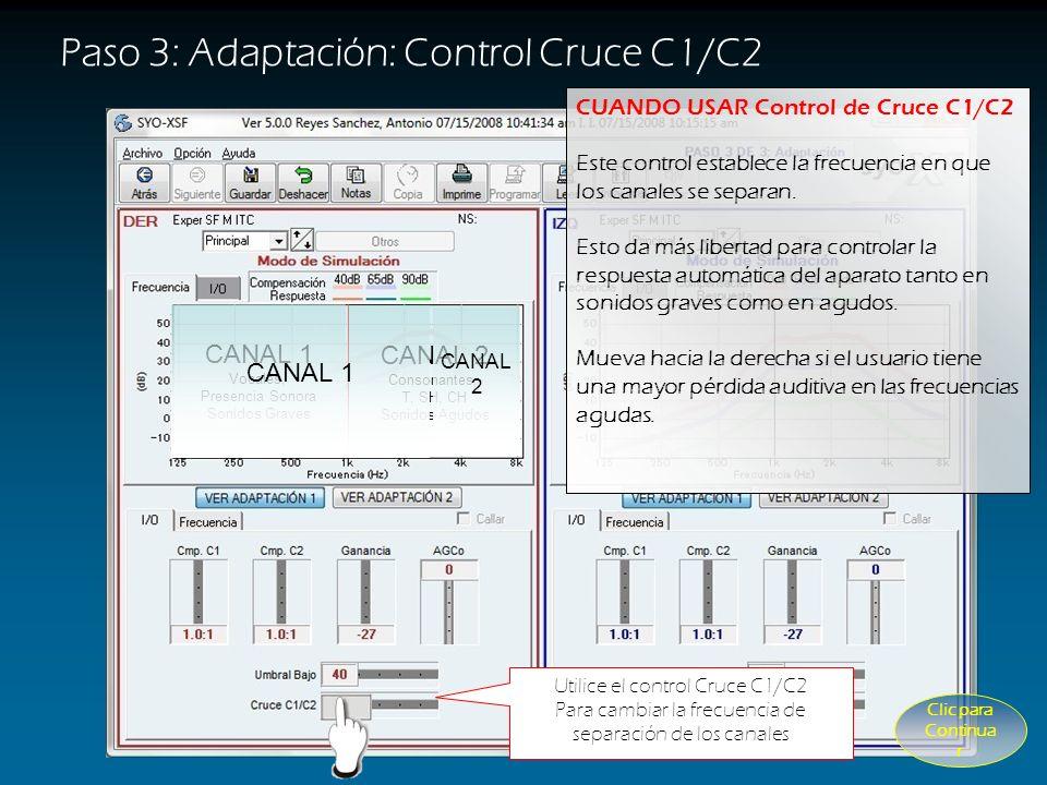 Paso 3: Adaptación: Control Cmp. C2 Utilice el control Cmp. C2 Para el ajuste de respuesta automática de agudos (Canal 2) Líneas Juntas Líneas Separad