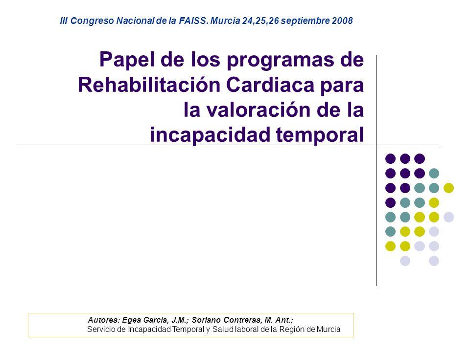 Papel de los programas de Rehabilitación Cardiaca para la valoración de la incapacidad temporal III Congreso Nacional de la FAISS. Murcia 24,25,26 sep