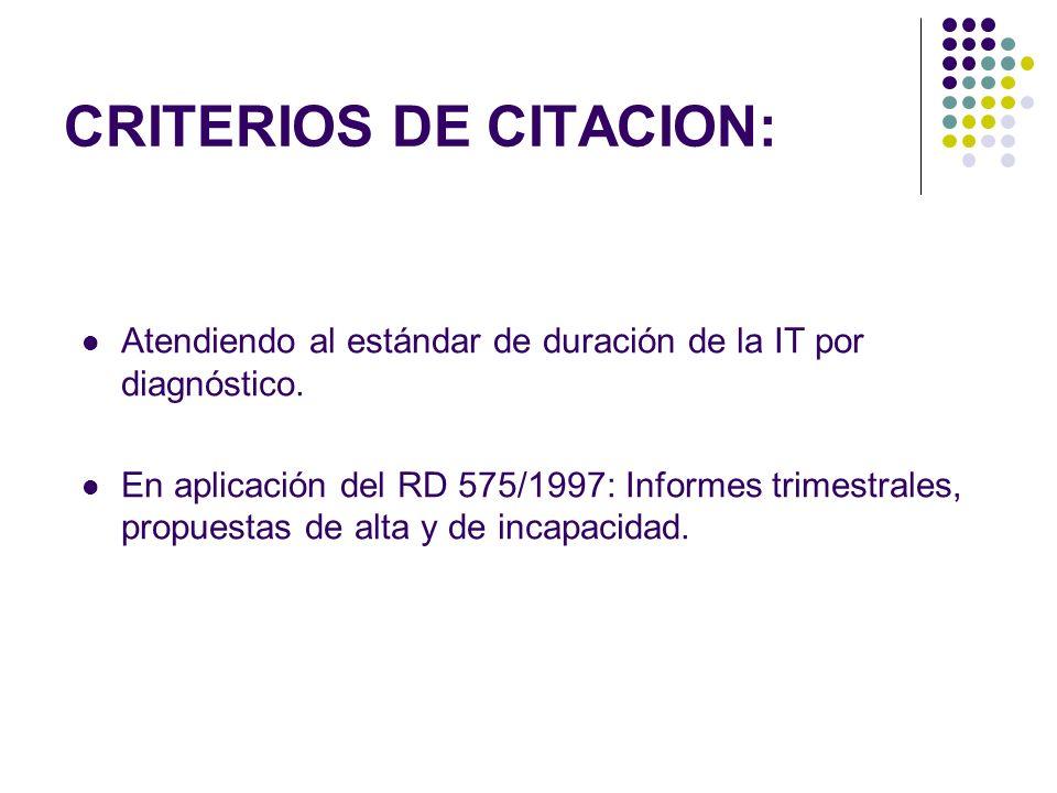CRITERIOS DE CITACION: Atendiendo al estándar de duración de la IT por diagnóstico. En aplicación del RD 575/1997: Informes trimestrales, propuestas d
